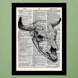 Bull Skull Dictionary Art Print