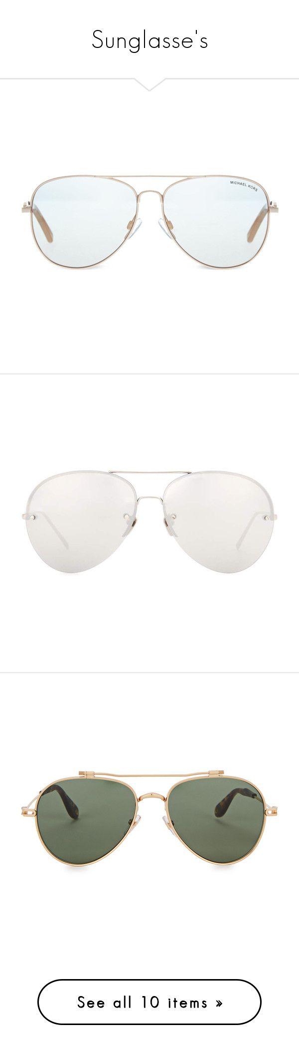 """Sunglasse's"" by briyannaelainhoy on Polyvore featuring accessories, eyewear, sunglasses, michael kors, aviator style glasses, wire sunglasses, michael kors aviators, lens glasses, glasses and white"