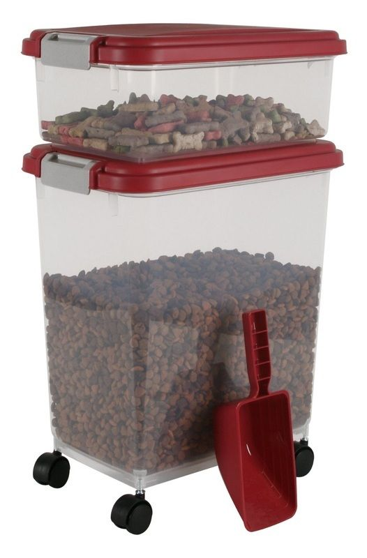 Keep dog food and treats fresh & tasty with the IRIS Airtight pet Food & Treat Container Combo.