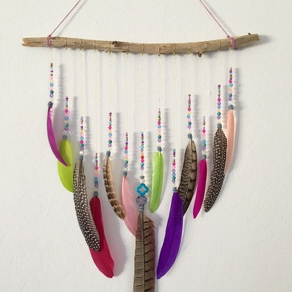 Feather Wall Hanging Boho Wall Hanging Dream by InspiredSoulShop