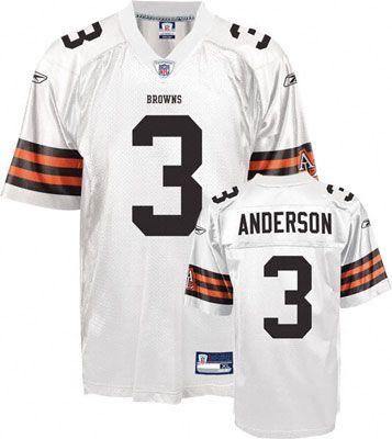 Reebok Cleveland Browns Derek Anderson 3 White Authentic Jersey Sale