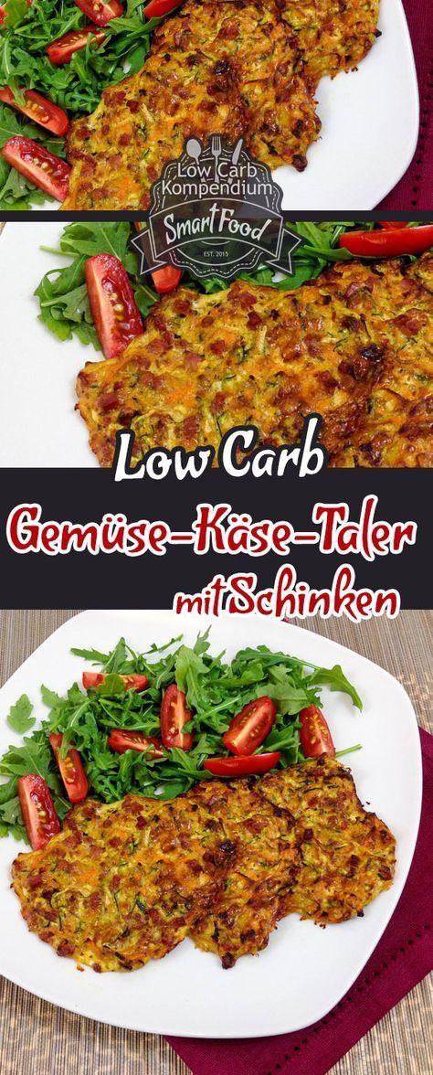 Low-Carb Gemüse-Käse-Taler mit Schinken. Ein toller Low-Carb Snack