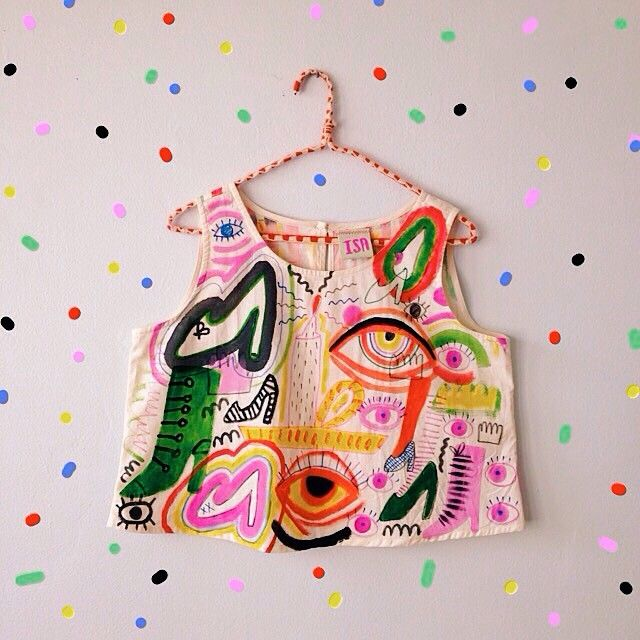 shop for hand-painted muslin crop tops @ www.gentlethrills.com/shop ($75 for a double-sided wearable painting is a steal tbh ;~) )