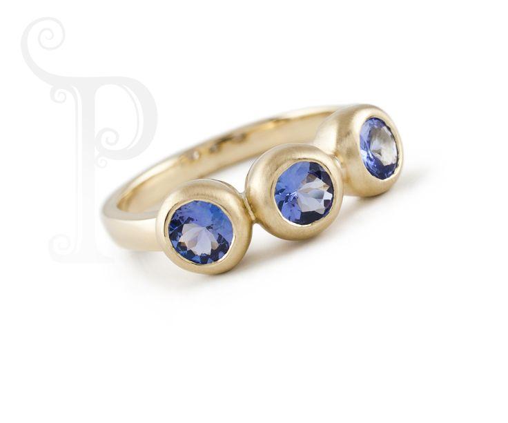 Handmade 9ct Yellow Gold Matt bezel Ring, Set With Tanzanite's