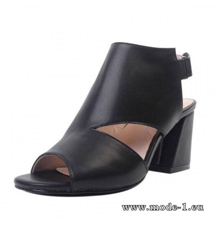Peep Toe Sommer Sandalen in Schwarz