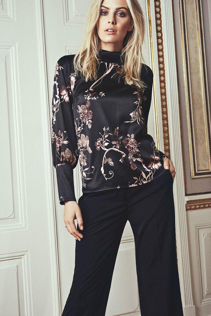 Fransa Blomster Svart Rosa Beige Bluse Print Topp Dame - Floyd.no
