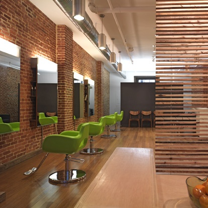 beauty salon lighting. lime green accents hanging artpiece with salon name beauty lighting