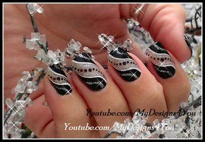 Super Easy New Year's Nail Art | Black And Silver Party Nails
