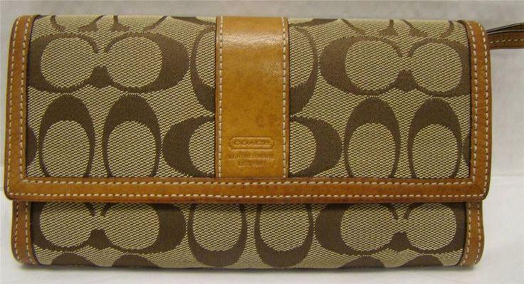 Coach Tan Khaki Brown Signature C Jaquard Leather Wallet