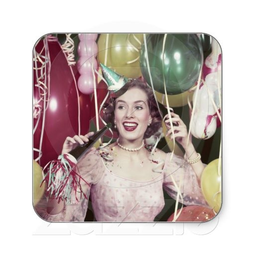 1950s Happy Woman In Party Dress at New Years Eve Square Stickers