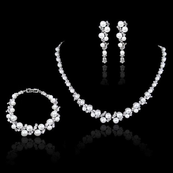 White/Ivory Pearls Swarovski Crystal Jewelry Set by Voguejewelry4u, $41.99