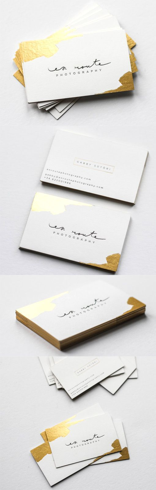 En Route Photography #business #card. I love the use of the gold foil like the corners were dipped in liquid gold. Modern, elegant photographer stationary.     www.graphicsmob.co.uk