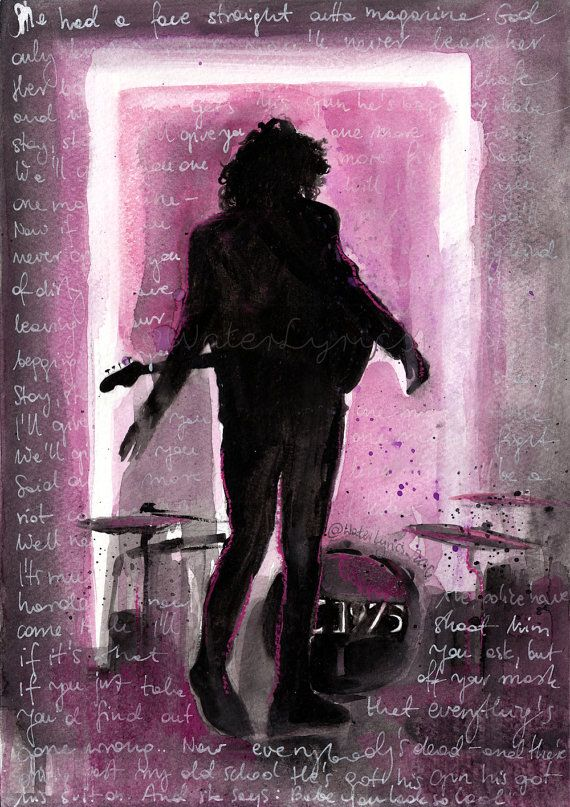 the 1975 Matty Healy Watercolour Portrait with Robbers by WaterLyrics