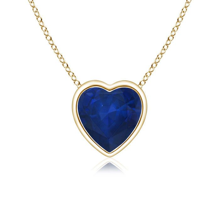 "Solitaire Heart Shaped Blue Sapphire Pendant Necklace 14k Yellow Gold 18"" Chain #Angara #Pendant"