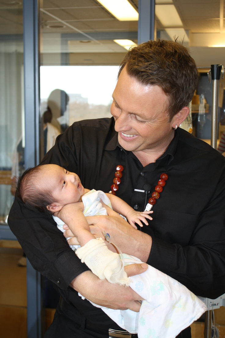 Beads of Courage!  Johnny Reid wearing my beads while visiting our local hospital in Regina!