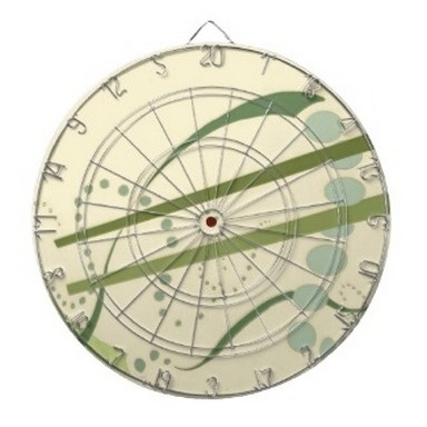 Abstractus Dart Board I made on zazzle using one of my hand-rendered pen, ink and watercolor designs - very nifty - I love the way it looks as a dartboard -   http://www.zazzle.com/abstractus_yellow_olive_green_abstract_modern_art_dartboard-256050117556703959