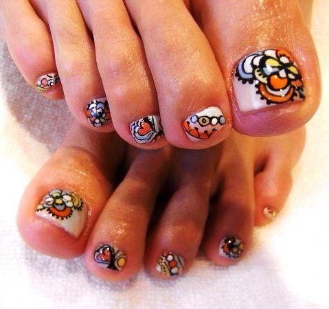 Pedi toe nail art design..