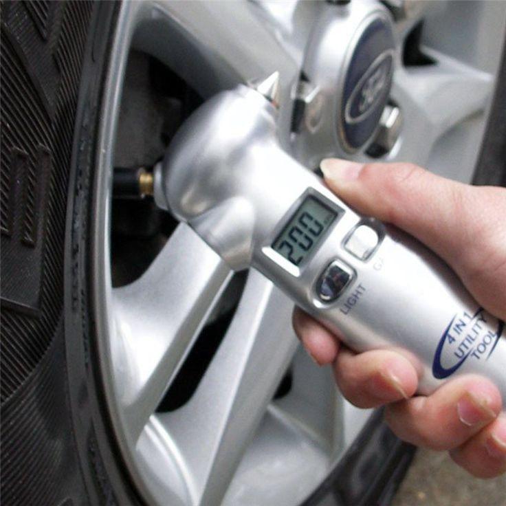 4 in 1 Car Essential Tool Digital LCD Car Auto Tire Gauge Tyre Meter Pressure Emergency Hammer Seat Belt Cutter Flashlight Torch