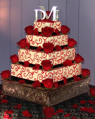 214 best red and white wedding theme images on pinterest white red and white wedding cake with red rose decorations junglespirit Choice Image