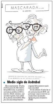 """La caricatura, una forma de arte  Publicado el 02/Mayo/2006     En 1951 se inició en el oficio de la caricatura. Su primer trabajo fue en diario El Sol, creado por un grupo de intelectuales, dirigido por Benjamín Carrión. Así, Asdrúbal de la Torre, caricaturista de HOY, quien exhibe en la muestra """"Trazos del tiempo"""", expuesta en el Museo de la Ciudad, contó sus experiencias en este campo.  (seguir leyendo…"""