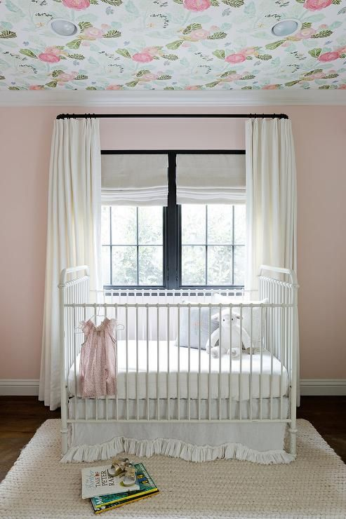 Sweet Nursery Design With Wallpaper Pattern Ceiling Part 57