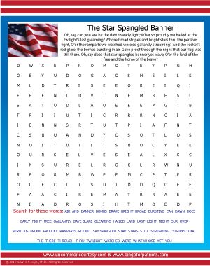 Star Spangled Banner Word Search downloadable for just $.76 at www.bingoforpatriots.com!