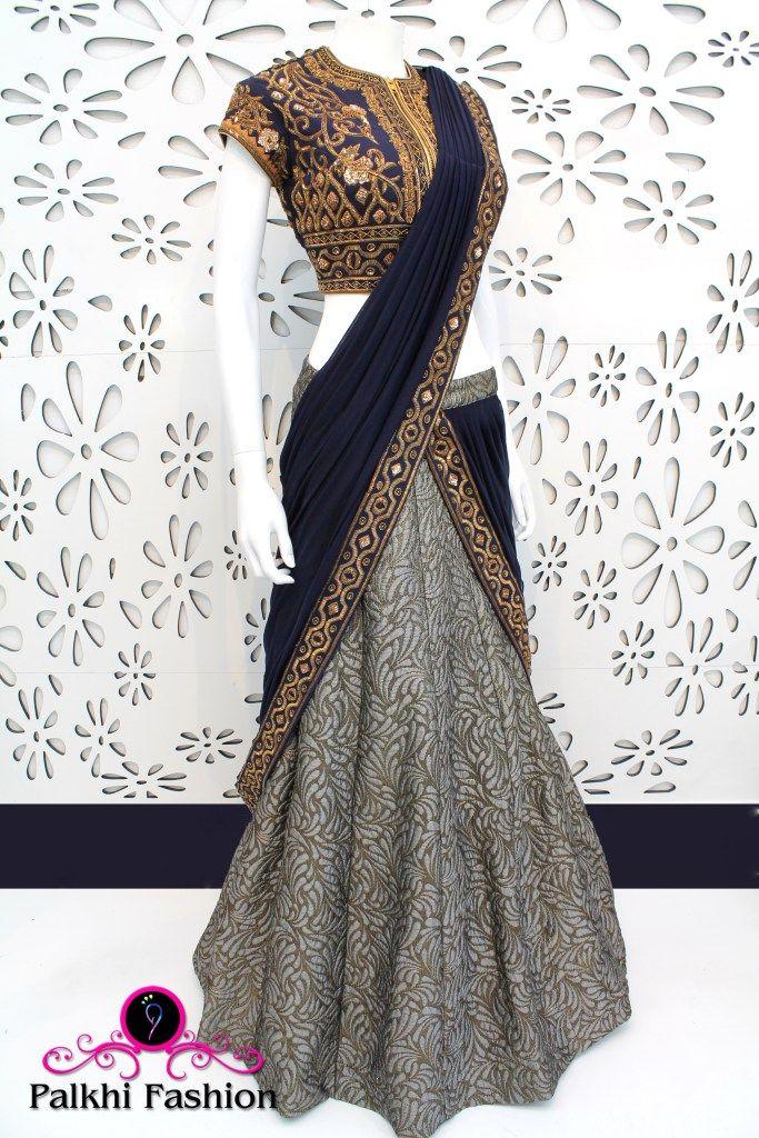 Palkhi Fashion Exclusive Grey & Blue Concept Lehenga with Elegant handwork Blouse