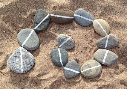 Something interesting to add to the sandbox, or use as a tabletop activity.  Rocks with lines on them...all kinds of designs to make