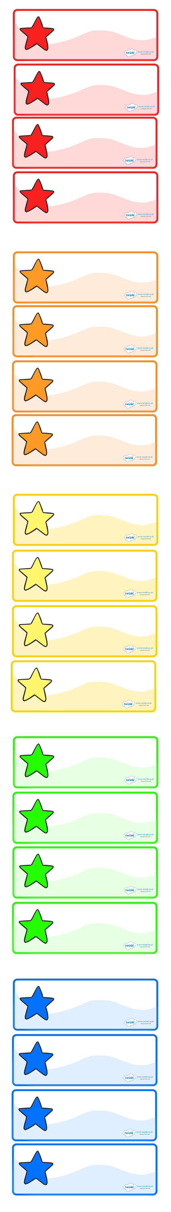 Twinkl Resources >> Editable Multicoloured Stars Drawer, Peg, Name Labels  >> Thousands of printable primary teaching resources for EYFS, KS1, KS2 and beyond! editable name labels, label templates, star, star resources, name labels, editable labels, coat peg labels, KS1, foundation labels, teaching,