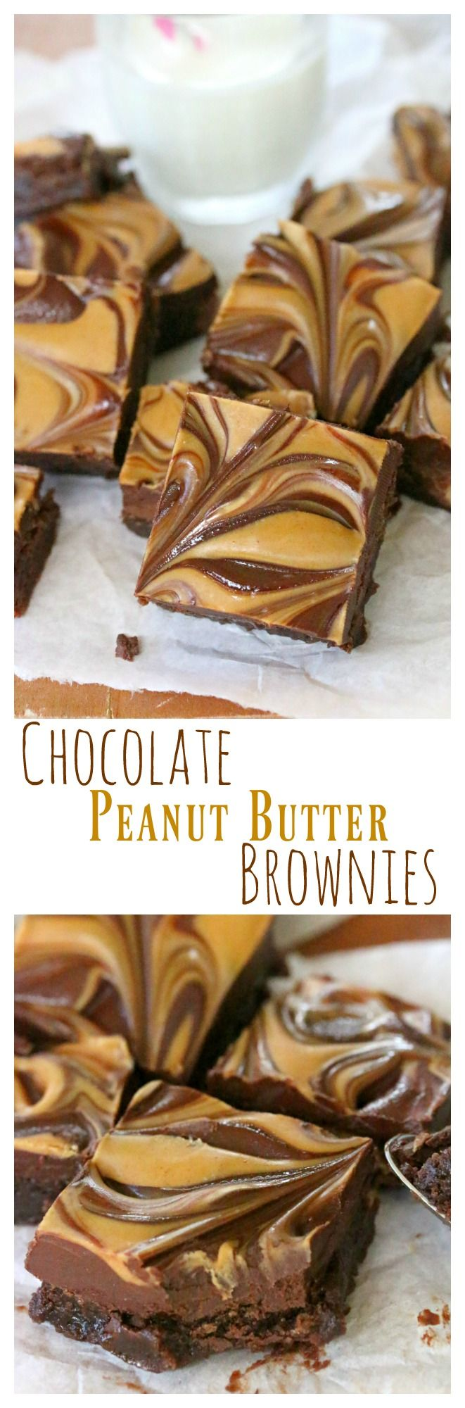 Chocolate Peanut Butter Brownies: Savory swirls of peanut butter and chocolate over brownies loaded with with chunks of peanut butter cups. #Brownies #PeanutButter