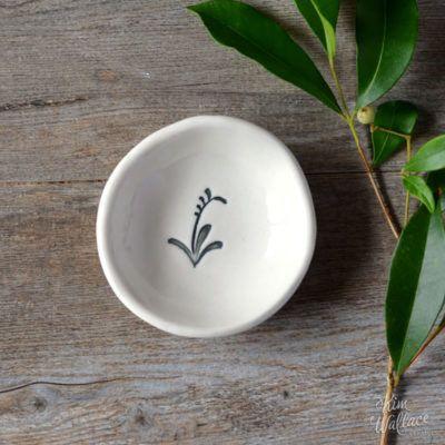 Bush Prints Collection ~ kangaroo paw tiny porcelain bowl    A collaboration between artist Renée Treml and Kim Wallace Ceramics ~ Handmade Australian Ceramics
