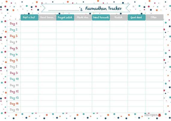 Ramadan fasting tracker. Digital print download. MUSLIM EID