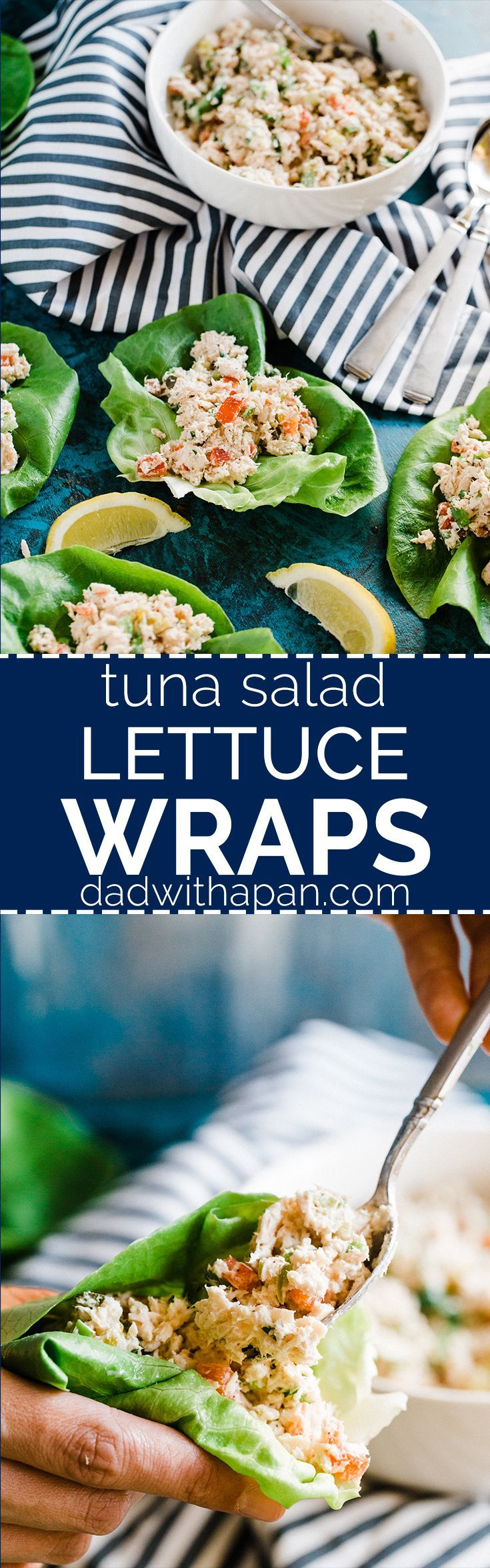 Fresh and easy to make lunch that beats the plain old tuna sandwich. These tuna salad lettuce wraps aren't drowning in mayo that the whole family will love! | Dad with a Pan