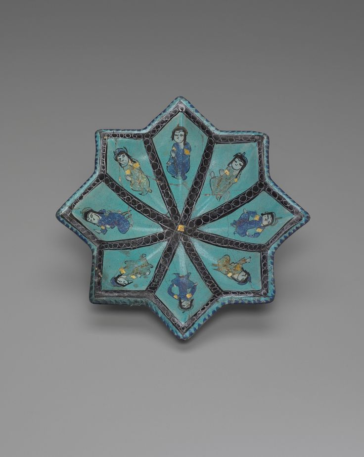 Star-Shaped Dish late 12th–early 13th century Mina'i ware; painted and gilded fritware on an opaque turquoise glaze.Culture: Islamic, Iranian, Persian, possibly Rayy Period: Seljuk dynasty (1038–1194) Classification: Containers - Ceramic - See more at: http://artgallery.yale.edu/collections/objects/star-shaped-dish#sthash.nCG5Kmbt.dpuf