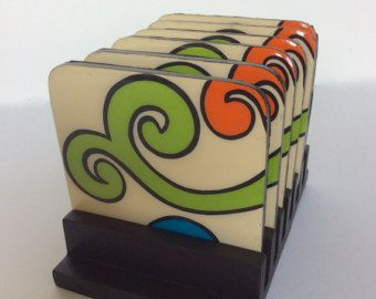 Coasters and wooden base , handmade , painted wood, Arabesque Colors