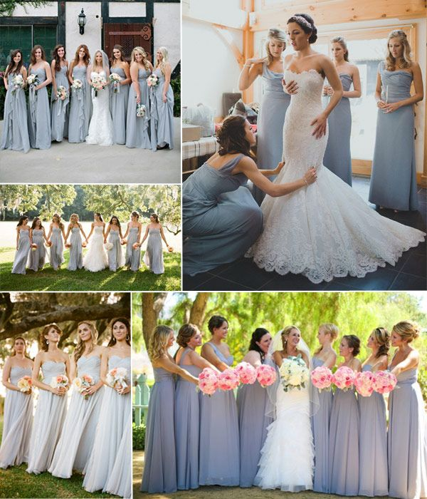 blush and grey wedding theme idea - gray bridesmaid dresses ideas