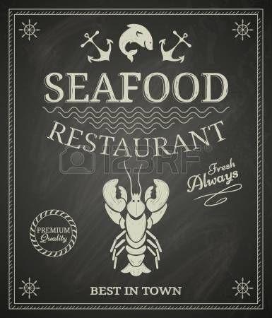 Restaurante de mariscos cartel en la pizarra photo