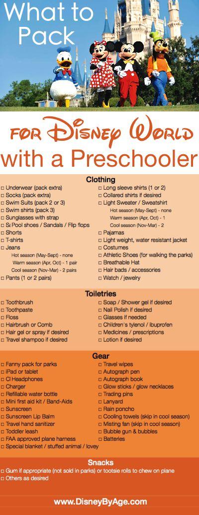 What to Pack: Preschooler Packing List for Walt Disney World