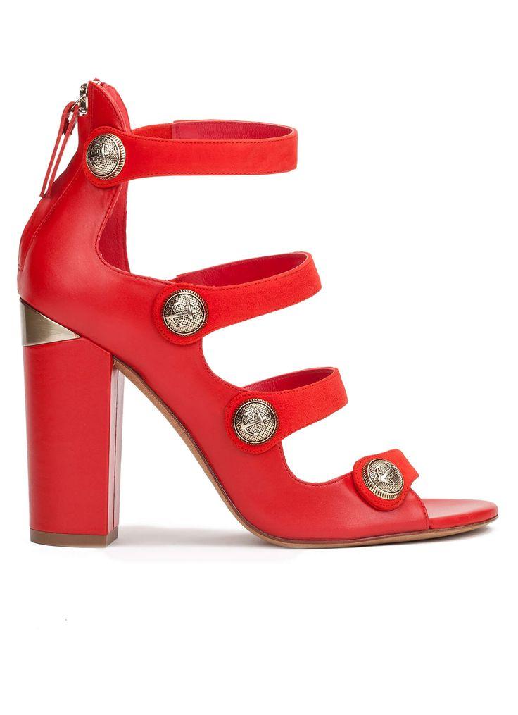 Sandalias rojas de tacón con botón - tienda de zapatos Pura López · PURA LOPEZ