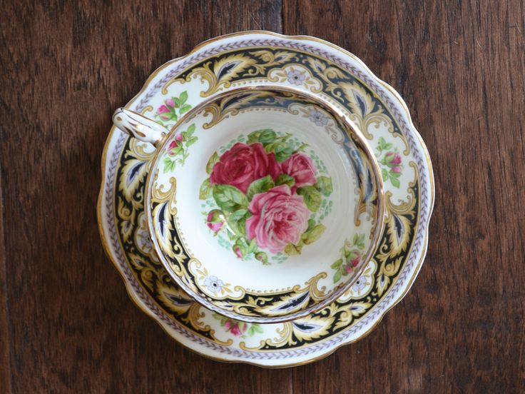 Vintage Foley Florence Bone China teacup cabinet duo, Stunning Rose Trio trimmed in black, made in England by Trashtiques on Etsy https://www.etsy.com/ca/listing/557913233/vintage-foley-florence-bone-china-teacup
