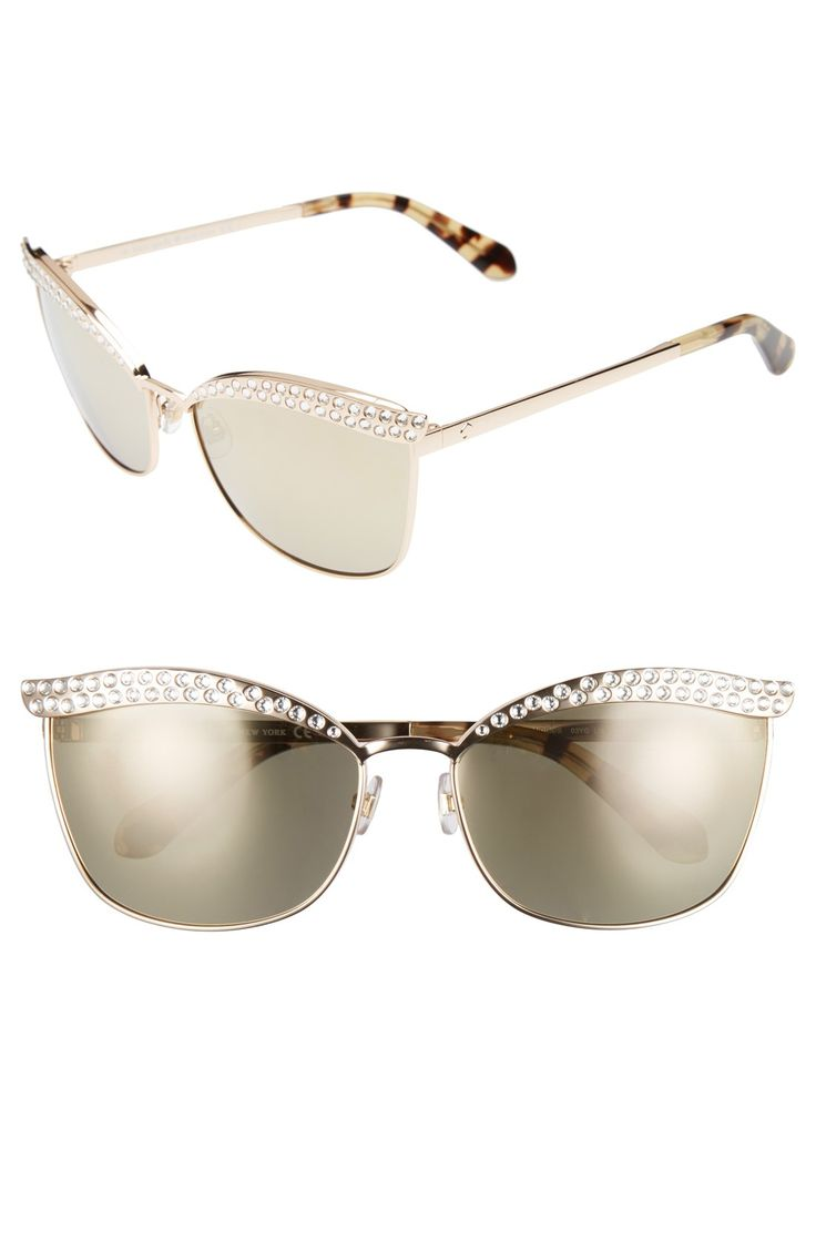 ray ban glasses slipping  twinkling austrian crystals light up the sculpted brow bar of mirrored lens aviator sunglasses outfitted with adjustable nose pads for no slip lens width;