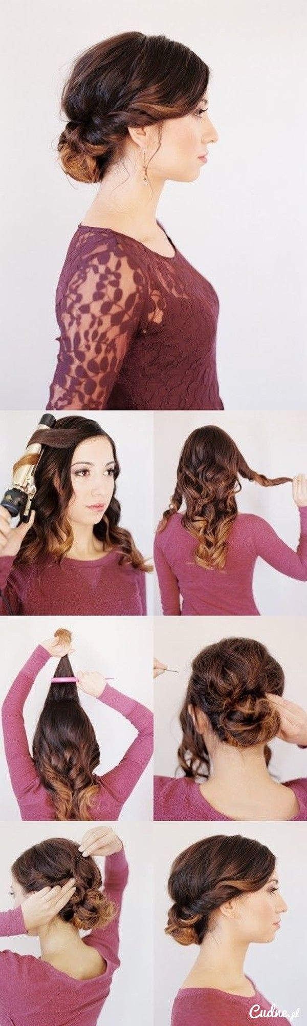Urocze upięcie na falowane włosy