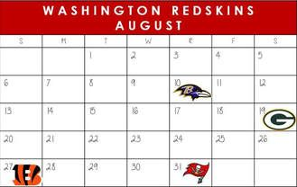 Washington Redskins August Schedule 2017  #WashingtonDC #Redskins #NFLSchedule #JordinsTurf