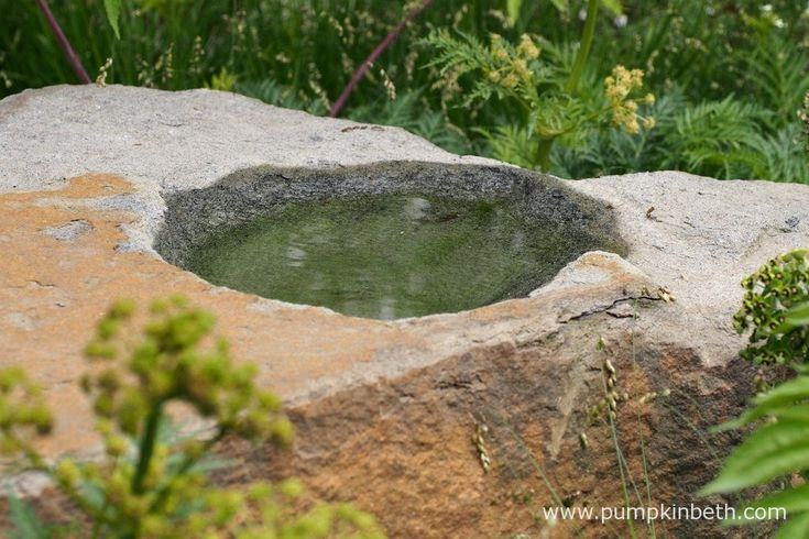 Cleve has used sandstone, sourced from the Forest of Dean in Gloucestershire, throughout the garden he designed for M&G at The RHS Chelsea Flower Show 2016. This natural boulder has been carved to form a small reservoir, allowing rainwater to collect, thereby providing a small area of water for birds to bathe in.