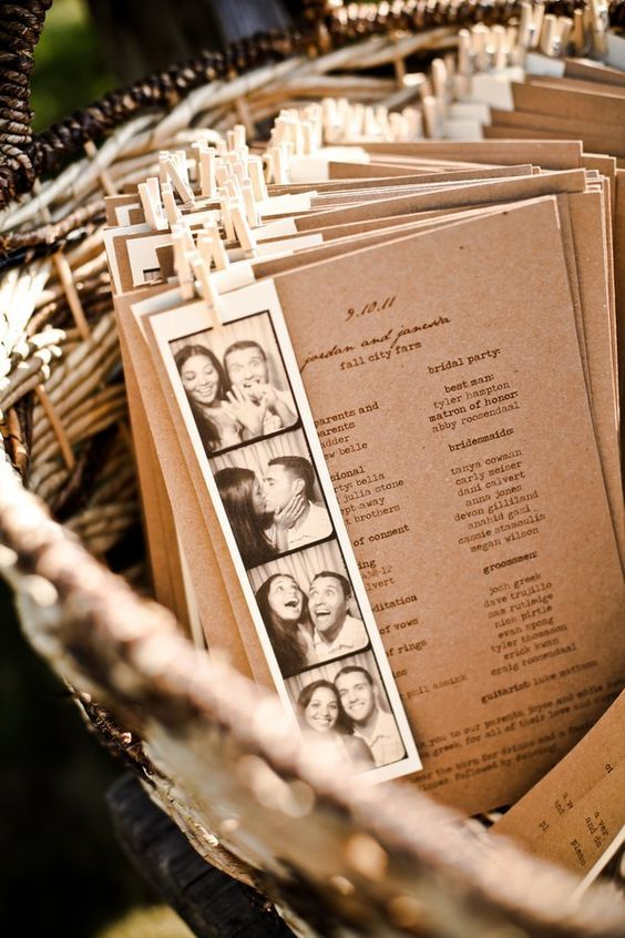 Kraft Paper wedding program with photobooth pictures / http://www.deerpearlflowers.com/rustic-country-kraft-paper-wedding-ideas/