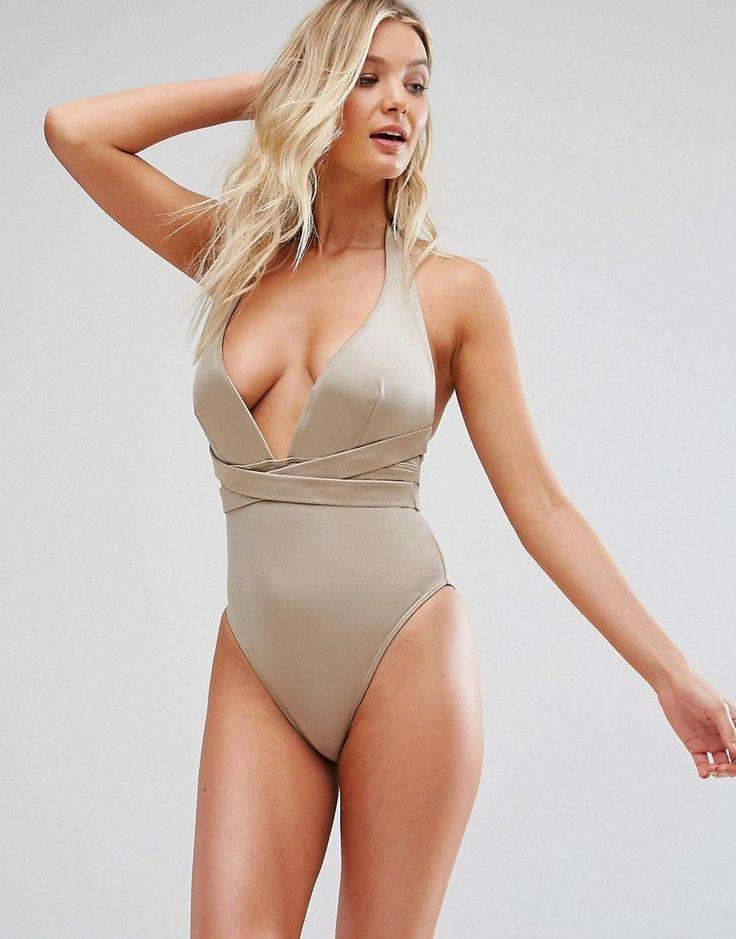 ASOS FULLER BUST Cross Waist Deep Plunge Swimsuit DD-G - Brown