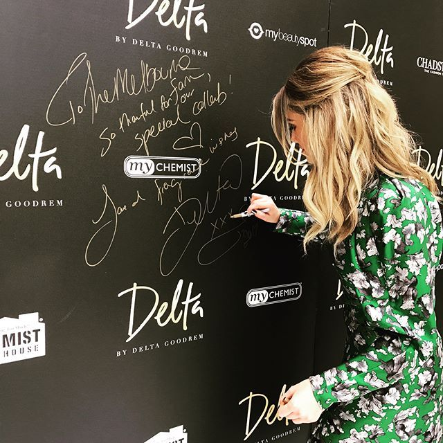And while I'm at it... ✍ ✌... #deltabydeltagoodrem SO proud of what we have created!!!⚡️ @bondiperfumecompany @chemistwarehouseau @mattyveezus @thenooodle @wellnessaustralia @biancaspender