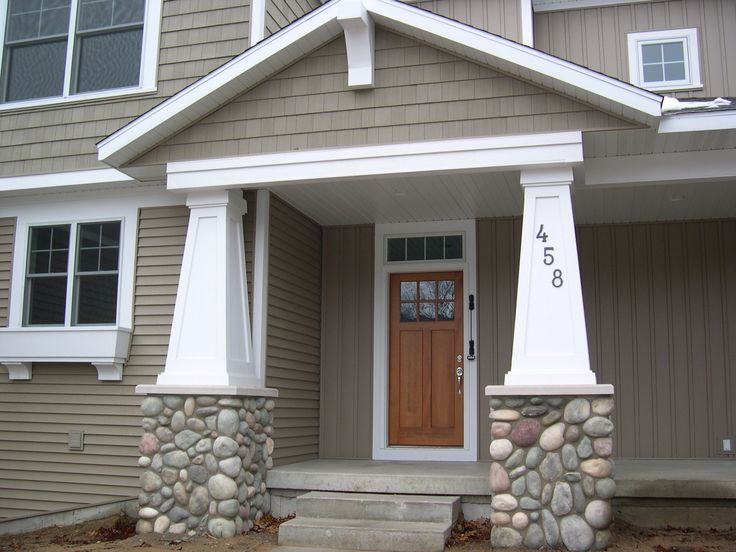 Entrance With Portico Columns : Best images about front porch curb appeal on