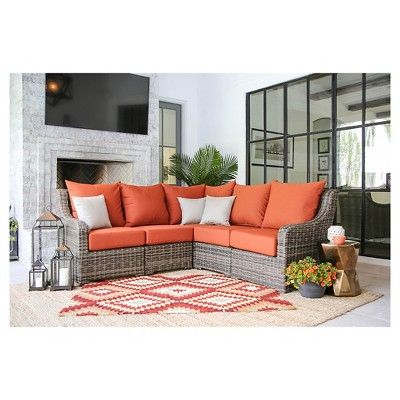 Cherry Hill 5pc Resin Wicker Sectional with Sunbrella Fabric Canvas Brick - AE Outdoor