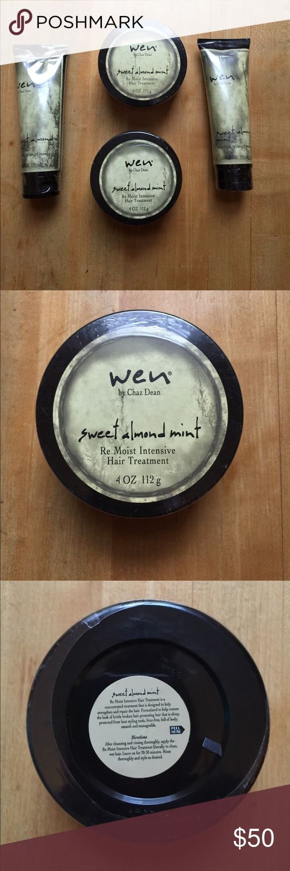 Wen By Chaz Dean Hair Product Bundle!! NWT Chaz Dean Wen hair product bundle!! There are two 4 fl OZ tubes of sweet almond mint anti-frizz styling creme and two 4 OZ containers of sweet almond mint Re Moist Intensive Hair Treatment! Bought them on QVC and $58.00 each set!! Wen by Chaz Dean Accessories Hair Accessories